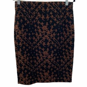 Grace Leopard Print Abstract Ponte Pencil Skirt